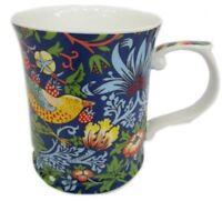 Fine Bone China William Morris Strawberry Blue Coffee Tea Mug w Handle Cup 415cc