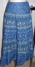Chaps NWT cool comfy cotton Indigo blue print tiered skirt M