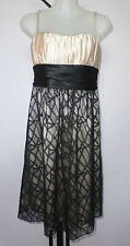 Reduced - MEI MEI Size 8 Black Lace and Cream Satin Strappy After 5 Dress