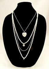 Classic New Multi Strand Faux Pearl Necklace with Heart Pendant NWT #N2415