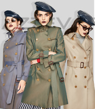Women's Double Breasted Water Proof Cotton The Kensington Trench Coat Outwear
