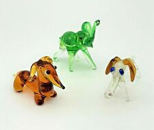 More details for set of 3 elephant and dog murano style miniature art glass lampwork figurines