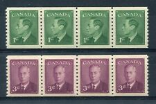 """CANADA Scott 295 & 296 - NH - """"POSTES-POSTAGE"""" omitted Strips of 4 (.008)"""