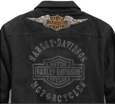 NEW HARLEY DAVIDSON Black Denim Jacket DISTRESSED Wings Patch Logo Mens XXL 2XL