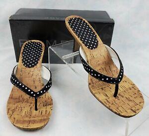 Rampage Montauk Black Polka Dots Cork Soles Heel Thong Sandals Women's Size 6.5M