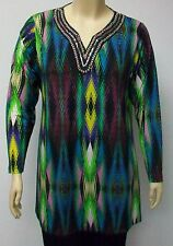 YOEK,AMSTERDAM,MEDIUM, MULTI-COLORED POLYESTER TUNIC WITH BEADING AROUND NECK