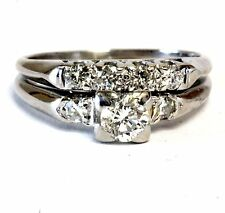 platinum .52ct round diamond engagement ring wedding band set 5.9g vintage
