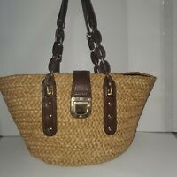 Pre Owned MICHAEL KORS Large Wicker Straw Pool Beach Bag Purse 20x10x8