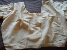 USED CREAM EMBROIDERED POLYESTER/SATIN SARI W/BLOUSE -FREE S&H W/BIN