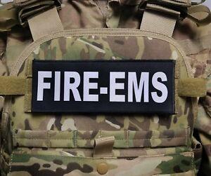 """3x8"""" FIRE EMS Black Hook Plate Carrier Patch Firefighter Paramedic EMT"""