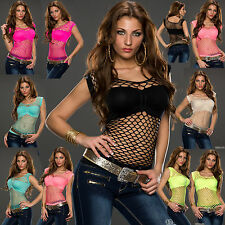 Womens Top Ladies Net Blouse Fishnet Clubbing Party Belly Shirt Size 6 8 10 12