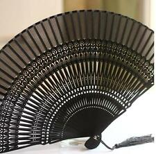 HIGH QUALITY Japanese Folding Clear Hand Engraved Flower Bamboo Pocket Fan Black