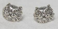 Sterling Silver Persian Longhair Cat Stud Earrings Free Shipping To US   e5