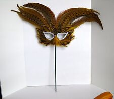Mardi Gras Hand-Held Mask, Brown, Fancy Feather, Party, Home Decoration