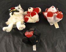 Lot of 4 Valentines Stuffed Animals Bear Rose Chosun Sing Sugar Dan Dee   o3p19
