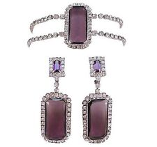 VINTAGE WEISS CHOKER NECKLACE DANGLE EARRINGS OPENBACK AMETHYST GLASS RHINESTONE
