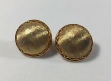 Goldtone Button Clip Earrings Round Brushed
