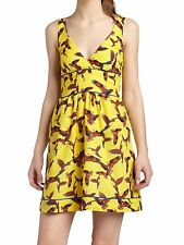 Lucy Love Dress Yellow Bird Print Cotton Made In USA Size M