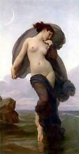 EVENING, SEMI-NAKED WOMAN WITH GREY ROBE, BOUGUEREAU, FRENCH ARTIST, MAGNET