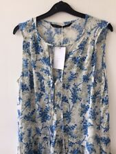 ZARA blue floral summer V-neck playsuit with front pearl craft buttons closure M