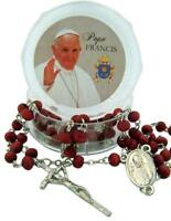 CB Silver Tone Pope Francis Rosary with Rose Scented Prayer Beads, 19 Inch