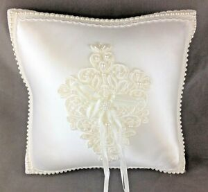"Beautiful Satin Ring Bearer Pillow Beaded Lace Trim Applique Hanging Ribbons 7"""