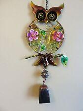 "Owl Bell Chime Fusion Glass Metal Garden Decor Yard Flower Design New 18"""