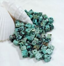 African Turquoise Stone Cube Beads Natural Untreated 4 MM Size (30)