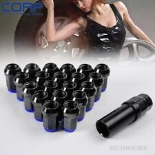 M12 X 1.5mm 20PC Wheel Rims Lug Nuts Formula Style W/ Key Forged Steel Blue