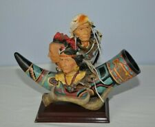Native American Indian Sculpture Statue Chiefs With Horn and Antler Resin Art