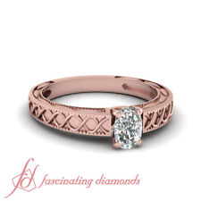 Cushion Cut GIA Certified Diamond Rose Gold Engagement Ring Solitaire 3/4 Carat