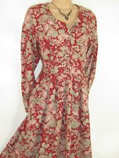 LAURA ASHLEY VINTAGE 80's LEAFY FLORALS AUTUMN COTTON WOOL DAY DRESS,14