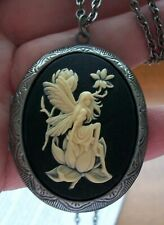 ANGEL FAIRY CAMEO LOCKET NECKLACE Keepsakes Memory Photos Pill Stash Box QUALITY