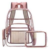 Women Transparent PVC Clear Backpack Fashion Shoulder Bag School Bag Security