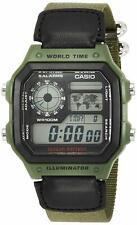 Casio AE1200WHB-3B Mens Black Green Digital Sports Watch 100M Cloth Band