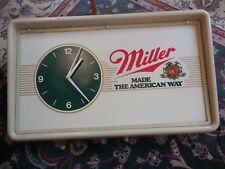 Large Vintage Industrial Miller Sign; Clock Works, Lights Up