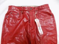 NEW Vtg PEPE Jeans London RED SNAKESKIN Print PLEATHER Pants VENUMM Womens 30X32