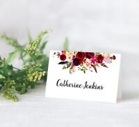 10 Personalised BOHO Wedding Floral Table Place Name Cards Seating Cards red
