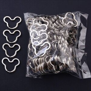100pcs Mickey Mouse key ring silver Split Key Ring Charms Connector Keychain