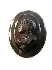 Victorian Black Glass Cameo of a Lady Brooch