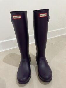 Hunter Women's Original Tall Wellington Boots Aubergine Purple New Size UK 7 40