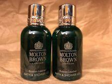 """MOLTON BROWN LONDON """"RUSSIAN LEATHER"""" BATH & BODY WASH GEL (1.7oz x 2)  NEW"""