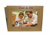 Dad & Me Wooden Photo Frame 8x6 - Personalise this frame - Free Engraving