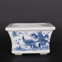 """Chinese Blue and White Porcelain Water Town Landscape Design Flowerpot Pot 7"""""""