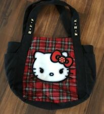 Hello Kitty Loungefly Sanrio Red Plaid Shoulder Tote Bag Purse Studded  WOW LOOK