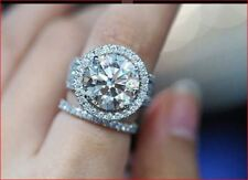 4Ct White Round Moissanite Halo Engagement Ring Band Set 925 Sterling Silver