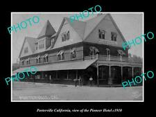 OLD LARGE HISTORIC PHOTO OF PORTERVILLE CALIFORNIA, VIEW OF PIONEER HOTEL c1910