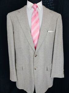 Tom James Holland & Sherry Tweed Sport Coat Flecked Wool Beige Blue Jacket 46L