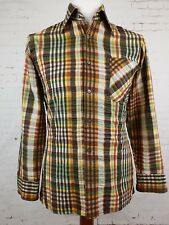 "Vtg 1980s Brown Check Long Sleeve Puckered Cotton Blend Shirt -14.5""/S- ER31"