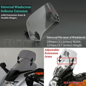 Motorcycle Scooter Adjustable Windscreen Clip-On Windshield Extender Deflector
